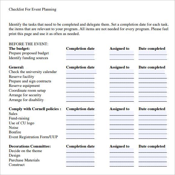 Free Event Planning Checklist