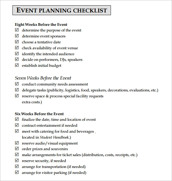 Event Checklist Template  Playbestonlinegames