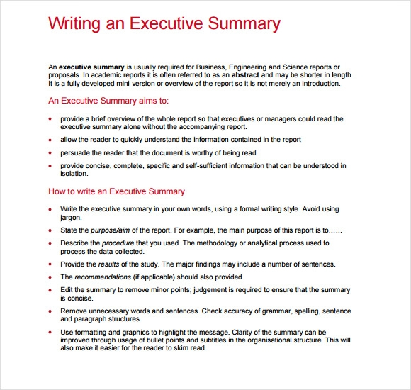 executive summary report template .