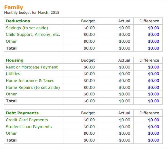 Family Budget Template 9 Free Samples Examples Format – Family Budget Template