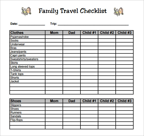 Sample Travel Checklist   Example Format