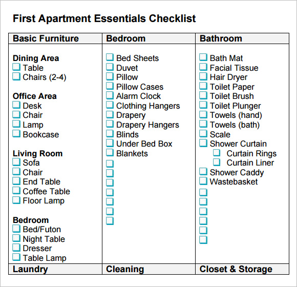 Sample New Apartment Checklist Documents In PDF Word - Bedroom furniture checklist