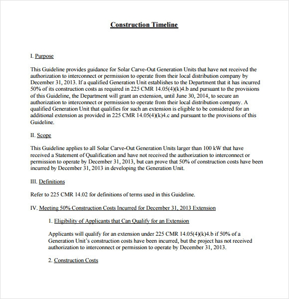 Sample Construction Timeline 6 Documents In PDF Word – Construction Timeline Template