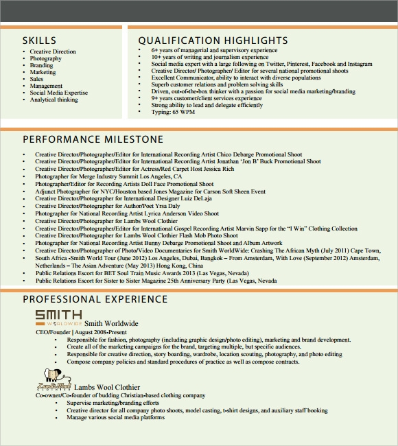 Creative Resume – 7+ Free Samples , Examples , Format | Sample ...