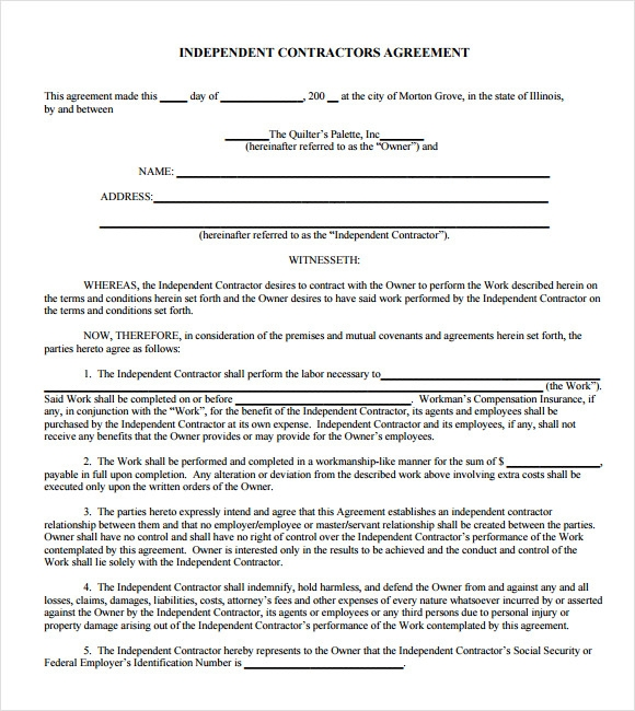 19 sample independent contractor agreements sample for Free contractor agreement template