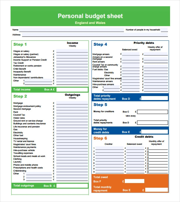 Sample Personal Budget - Documents In PDF, Word, Excel