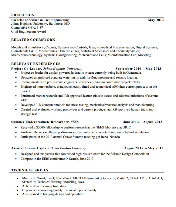 sle civil engineer resume 6 free sles exles
