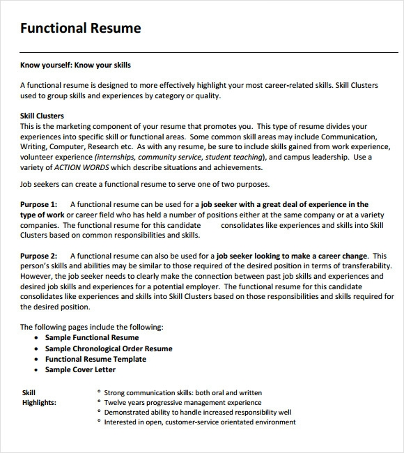 Functional Resumes Functional Resume Sample For Monster