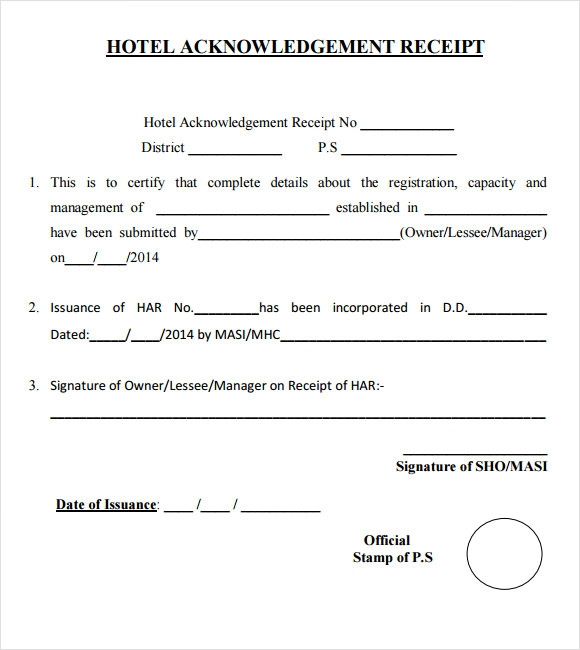 free hotel receipt template word – Sample Hotel Receipt Template