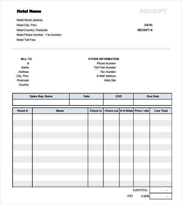 Hotel Receipt Template 9 Free Samples Examples Format – Receipt Samples