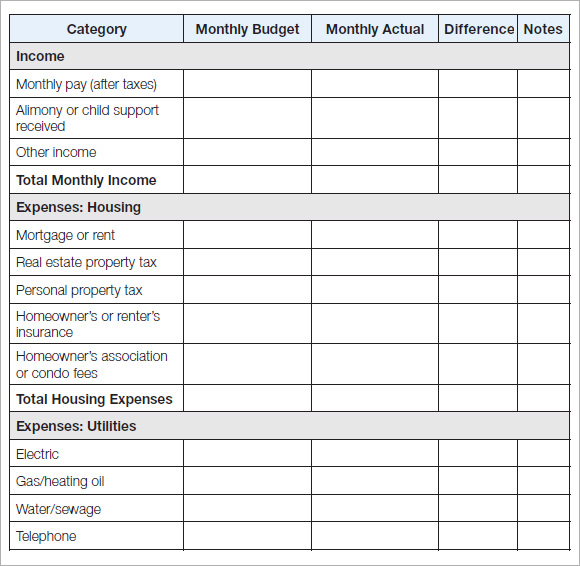 household budget template 2 monthly