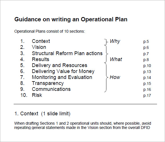 how to operational plan pdf