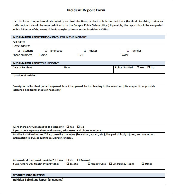 17+ Sample Incident Reports | Sample Templates