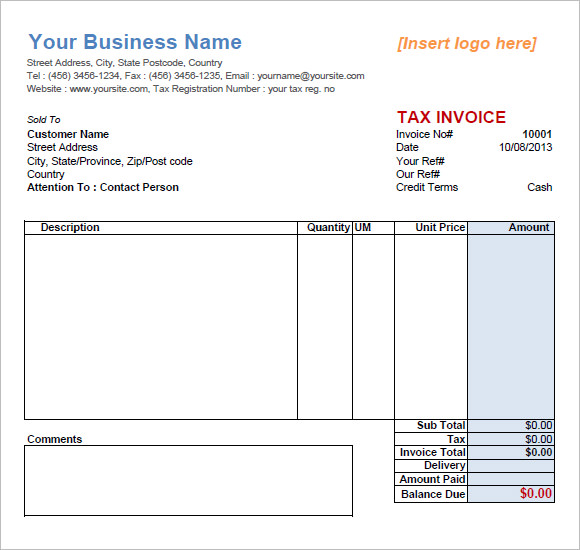 invoice template service 1tax basic