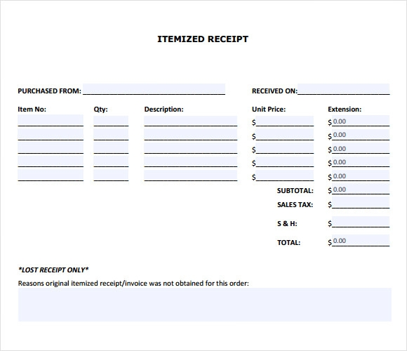 Sample Itemized Receipt Template 8 Free Documents in PDF – Itemized Receipt Template