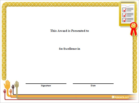 Sample Certificate Templates for Kids 9 Free Documents in PDF PSD – Certificate Template for Kids