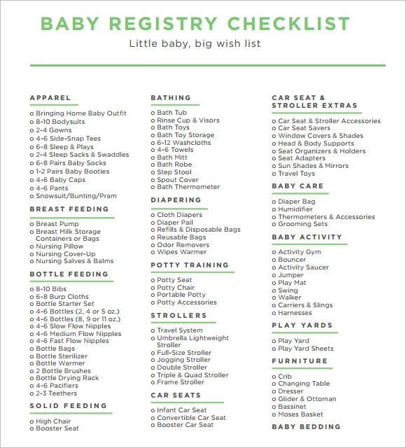 Sample Baby Registry Checklist   Example Format