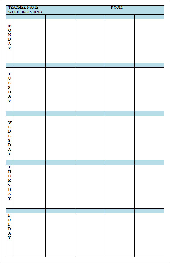 Free Weekly Lesson Plan Template Word Acurnamedia