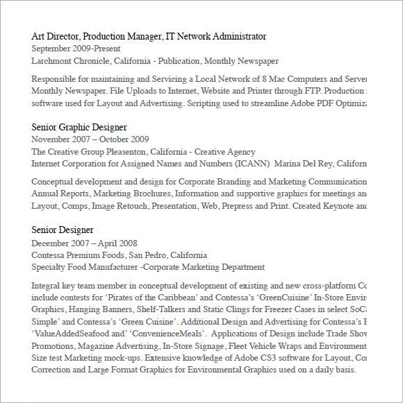 Designer Resume – 7+ Free Samples , Examples , Format | Sample ...