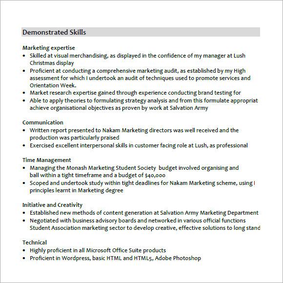 Demonstrate organisational skills resume