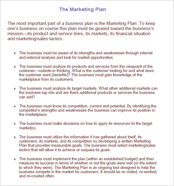 Sample Marketing Plan 7 Examples Format – Marketing Business Plan Template