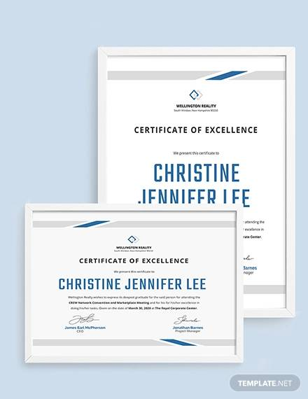 modern certificate of excellence