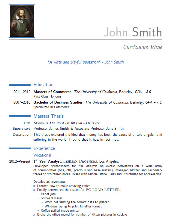10 modern resume templates  u2013 samples   examples  u0026 format