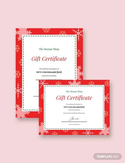 modern holiday gift certificate