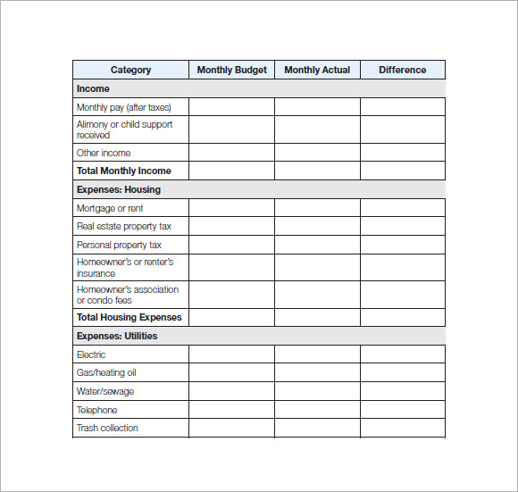 personal budget template pdf .