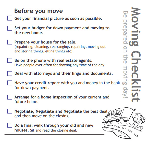8 new apartment checklist samples sample templates for Moving into a new house checklist