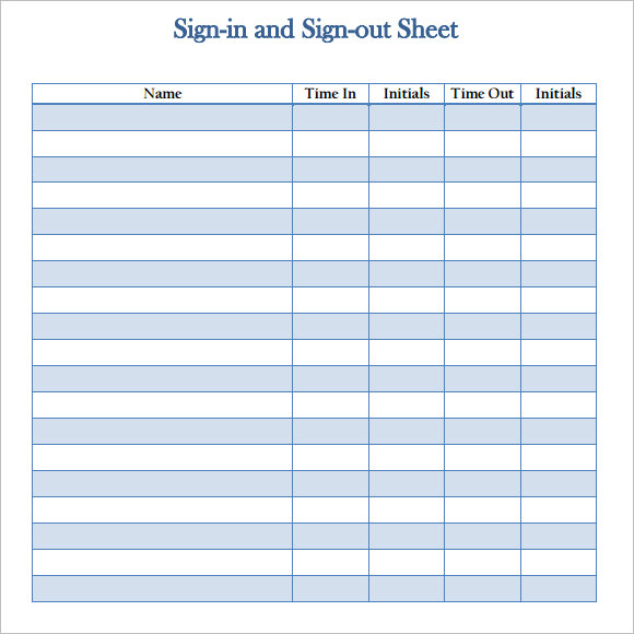 mployee sign in sign out sheet