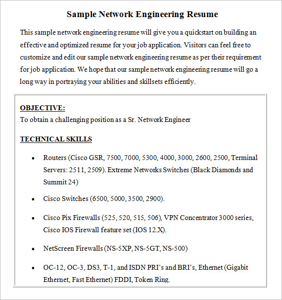 network engineer resume  u2013 8  free samples   examples   format