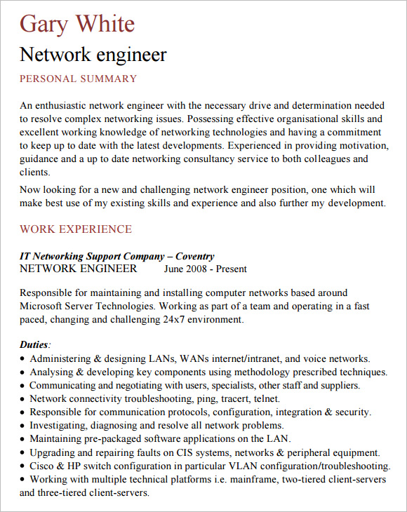 Resume Resume Sample Junior Network Engineer network engineer resume 8 free samples examples format sample cv template template