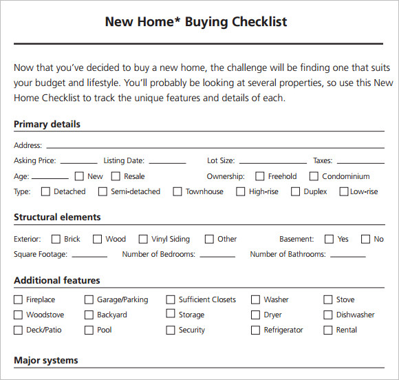 New Home Ing Checklist