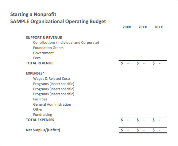 nonprofit sample budget oneoc