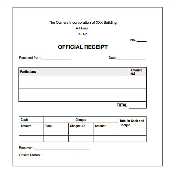 Payment Receipt Sample  Cheque Receipt Template