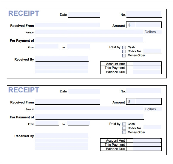 sample payment receipt