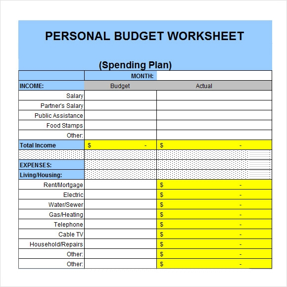 6 personal budget samples sample templates