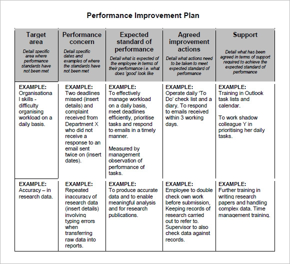 Example Of Performance Improvement Plan Assessment Office of – Sample Employee Performance Improvement Plan Template