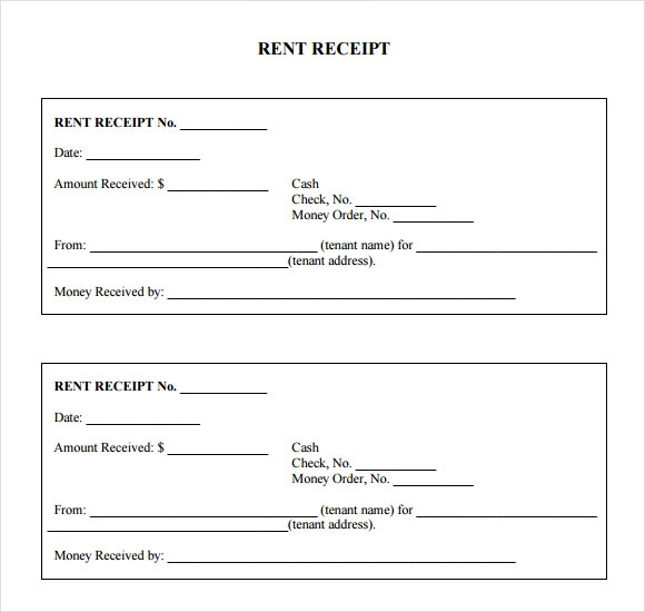 7 Rent Receipt Templates Free Samples Examples Format – Free Rent Receipt Template