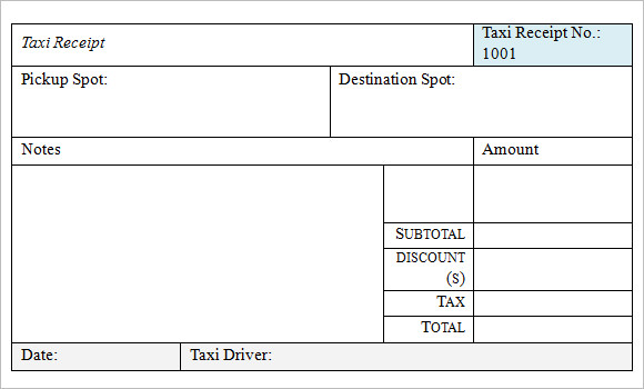 18 Taxi Receipt Templates Free Samples Examples Format Sample