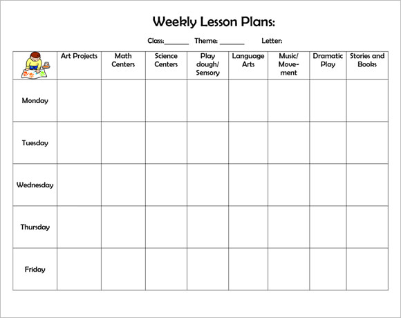 Sample Weekly Lesson Plan   Documents In  Word