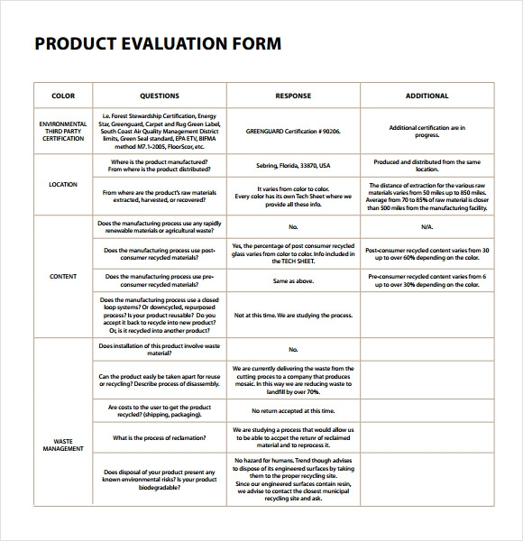 product evaluation pdf