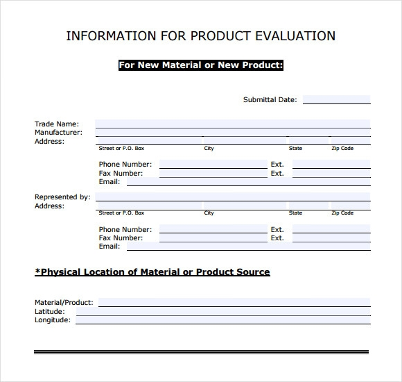 Product Evaluation 9 Free Samples Examples Format