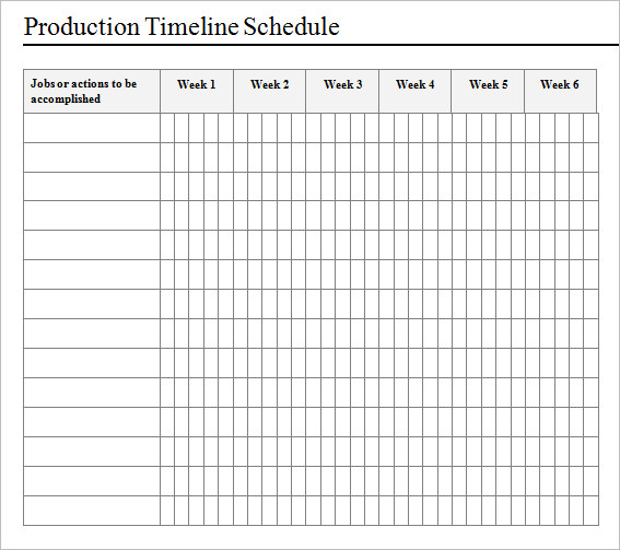 Sample Production Timeline Production Timeline Template Sample Page
