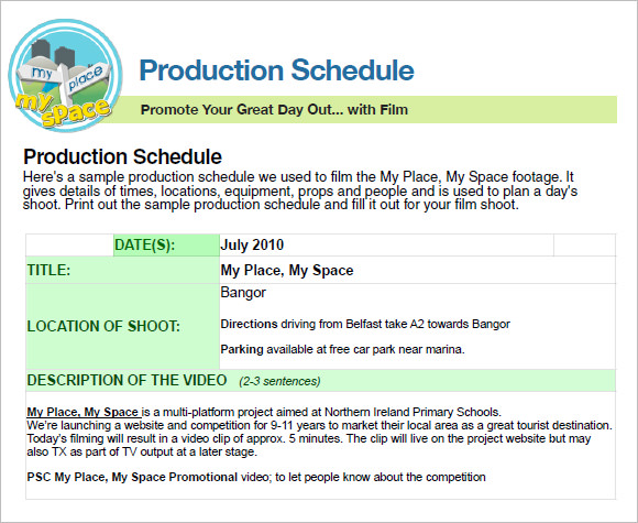 Pre Production Schedule Template XXUs
