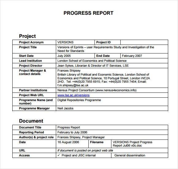 project progress report format koni polycode co