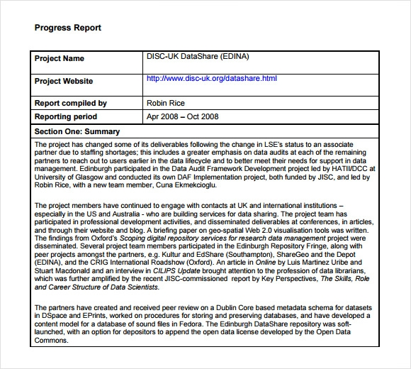 Sample Progress Report   Examples  Format