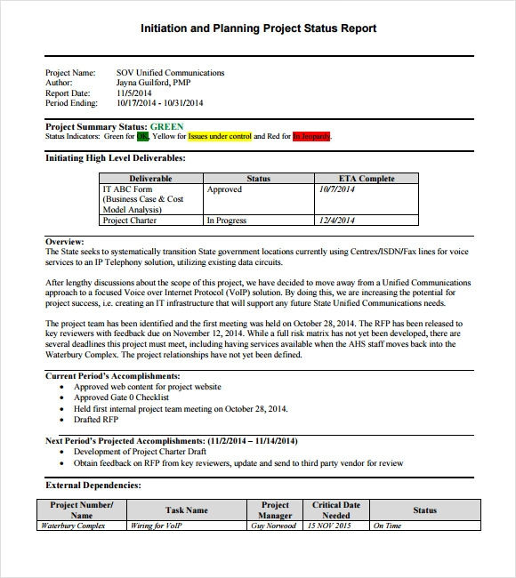 Sample Project Status Report 8 Examples Format – Status Update Template