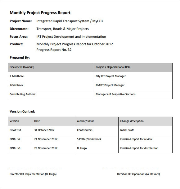 project status reports